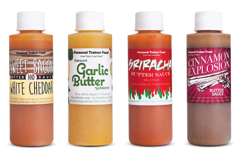 Every order of delicious weight loss meals from Personal Trainer Food comes with Sweet Garlic Butter sauce (that everyone loves), we also offer sweet Bacon and White Cheddar, Sriracha Butter Sauce, and Cinnamon Explosion Butter Sauce. Totally amazing low-carb sauces you can use to lose 10-20 or more pounds fast.