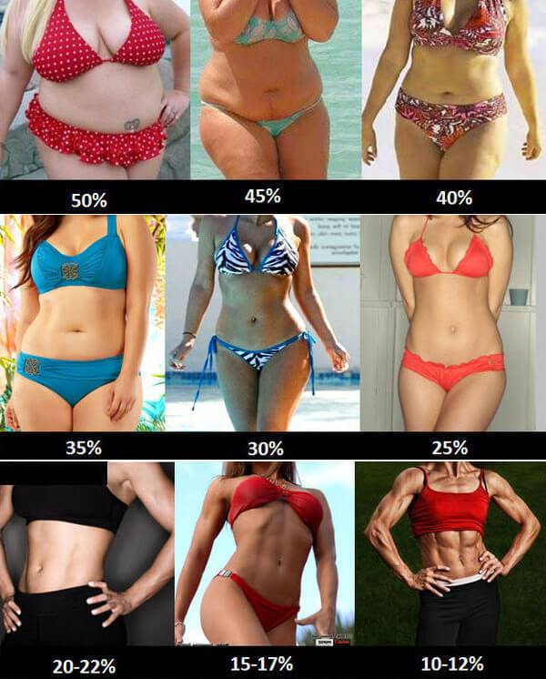 Use this chart to find out what your body fat % is, and to set
