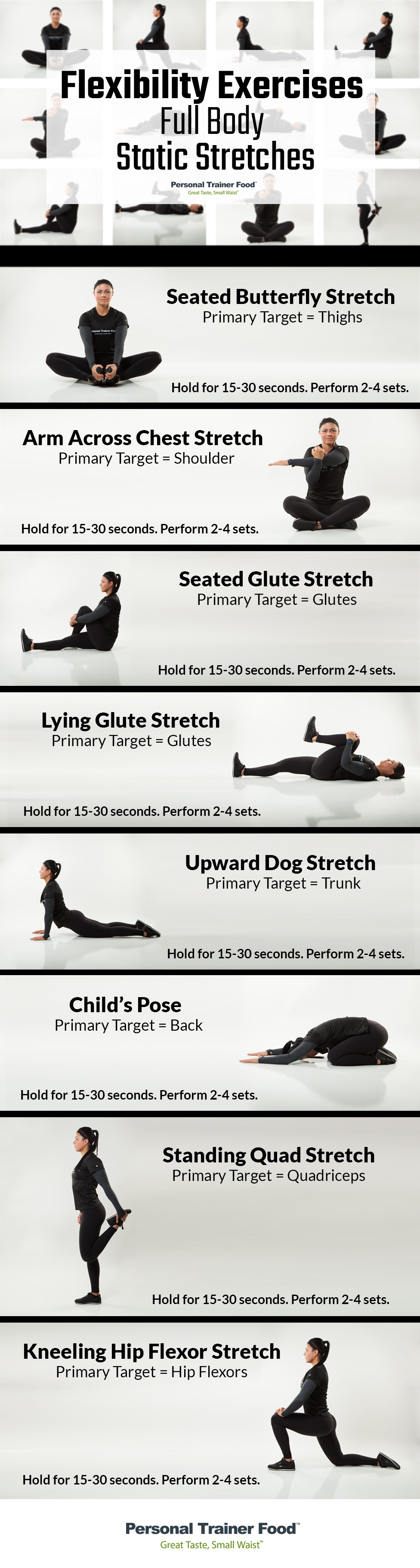 8 Full Body stretching routine you can do anywhere, anytime, step by step infographic from Personal Trainer Food.