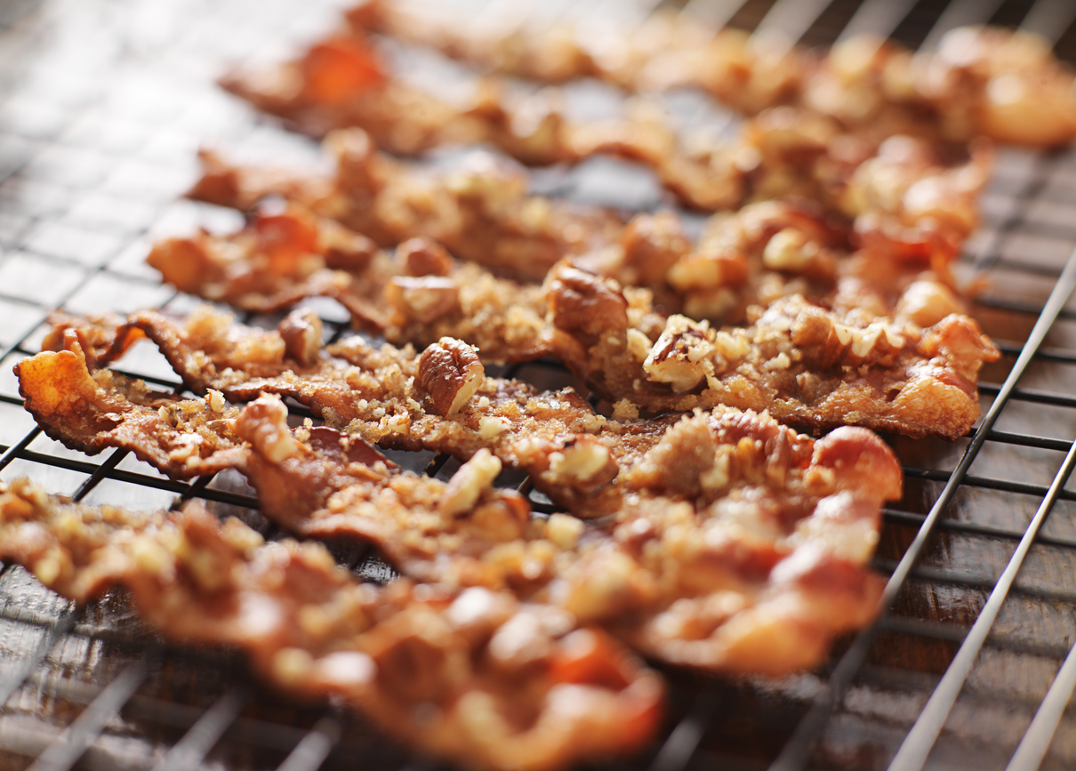 Candied bacon can make your sugar-free valentine's day breakfast a super sweet treat.