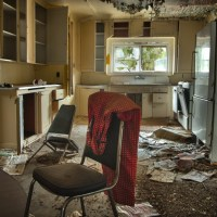 Just Stepping Out - Kitchen furniture left when the mine abruptly closed.