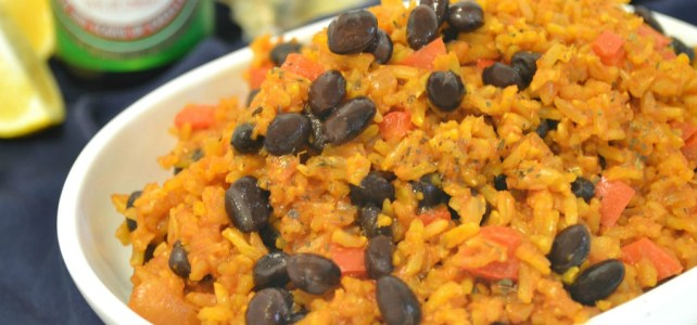 Simple Spanish Rice from scratch – Made with whole grains and @kikkomanusa Less Sodium Soy Sauce, it's a healthier take on boxed mixes. #sponsored