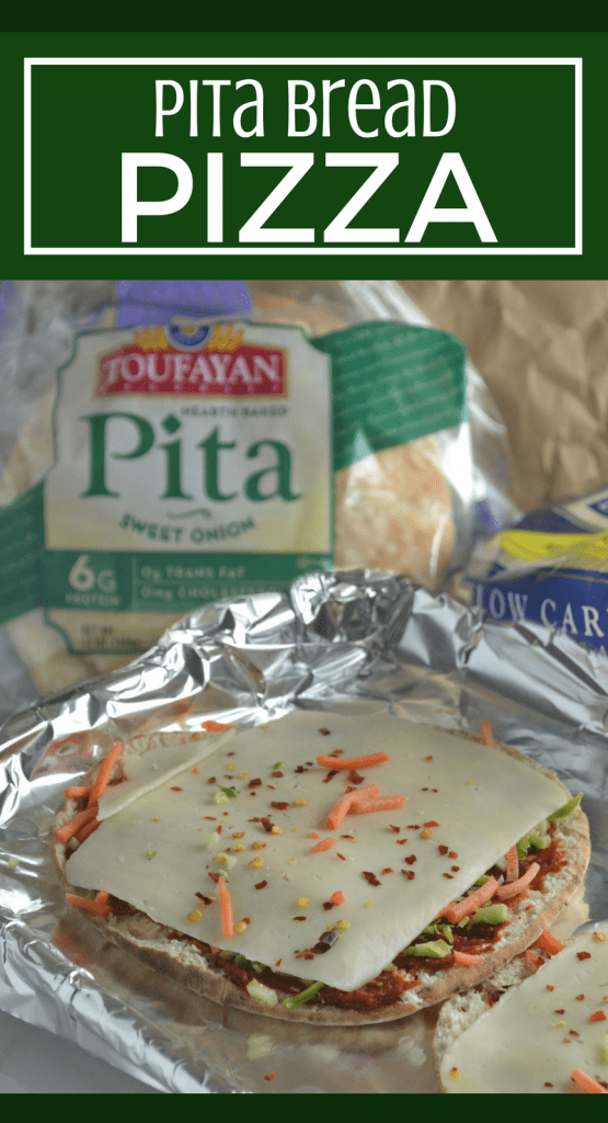 Pita Bread Pizza - Quickly satisfy a pizza craving with this no knead homemade recipe. Using pita bread, create individualized pita pizza pies by layering on your favorite toppings. #AD