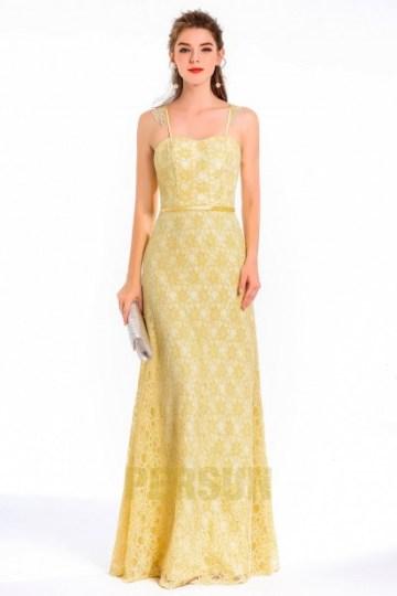 robe de soirée jaune longue en dentelle