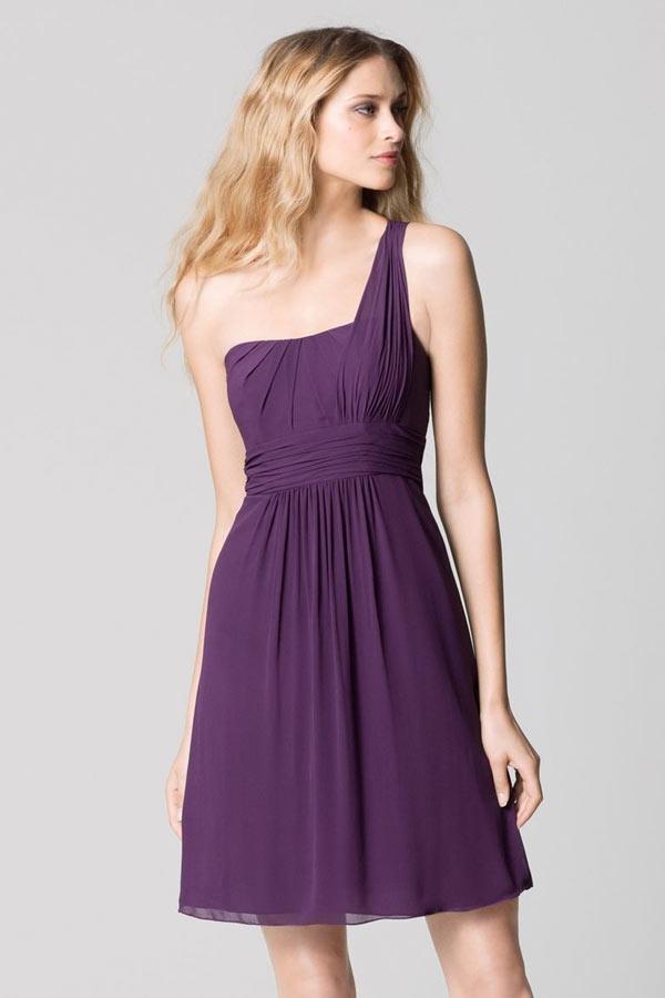 Petite Robe Violette Asymetrique Pour Mariage Persunfr