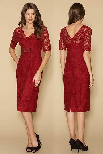 robe-de-soiree-courte-manches-courtes-dentelle-rouge