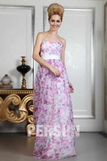 Robe maxi imprimé fleurs bustier coeur