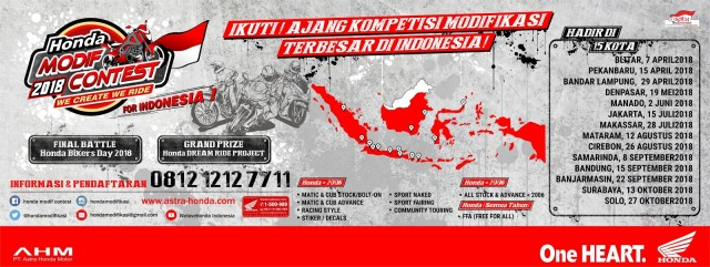Poster Jadwal Honda Modif Contest 2018 We Create We Ride For Indonesia