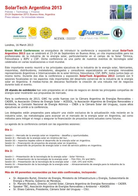 SolarTech Argentina 2013 - Comunicado de Prensa_001