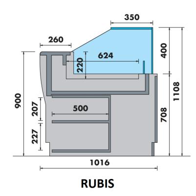 Vitrine droite basse Rubis meuble droit