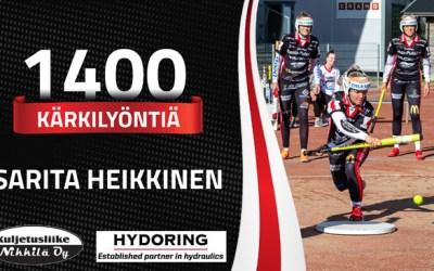Sarita Heikkiselle 1400 kärkilyöntiä täyteen