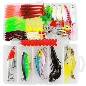 Shackcom Universale Kit di Esche da Pesca 91 Pezzi Esche Artificiali da Pesca Plastica Vermi Forbici con Scatola per Conservare Adatto per Acqua di Mare e Acqua Dolce