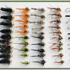 50, colore: oro con esche per pesca alla trota, a forma di ninfa & Buzzer, dimensioni, Good Choice -