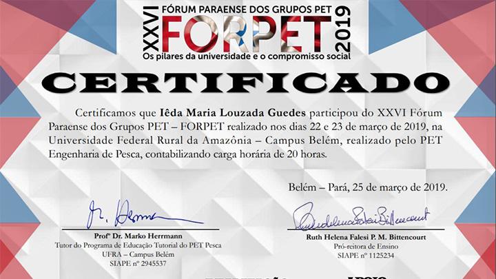 Certificados XXVI FORPET