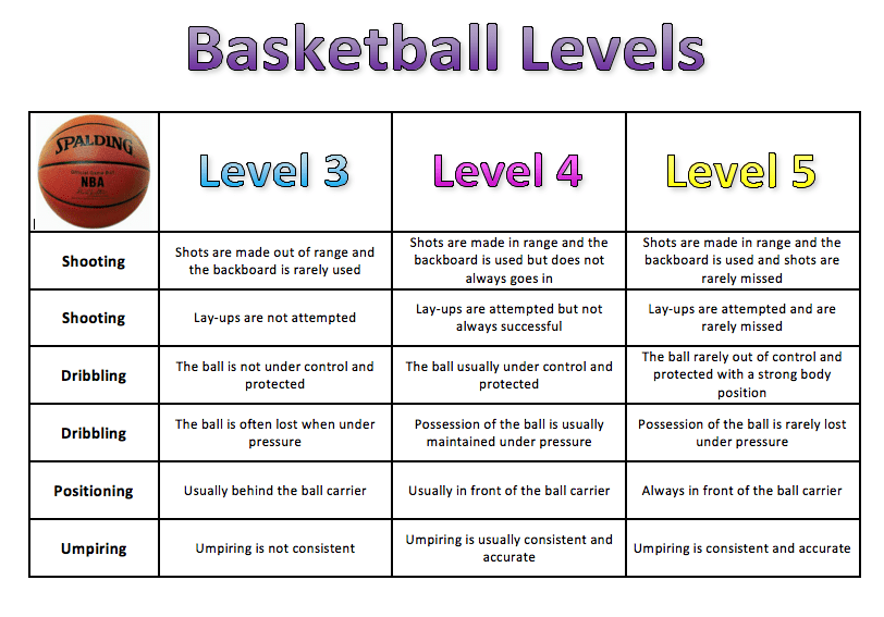 Basketball Assessment Levels Grid Pe Scholar