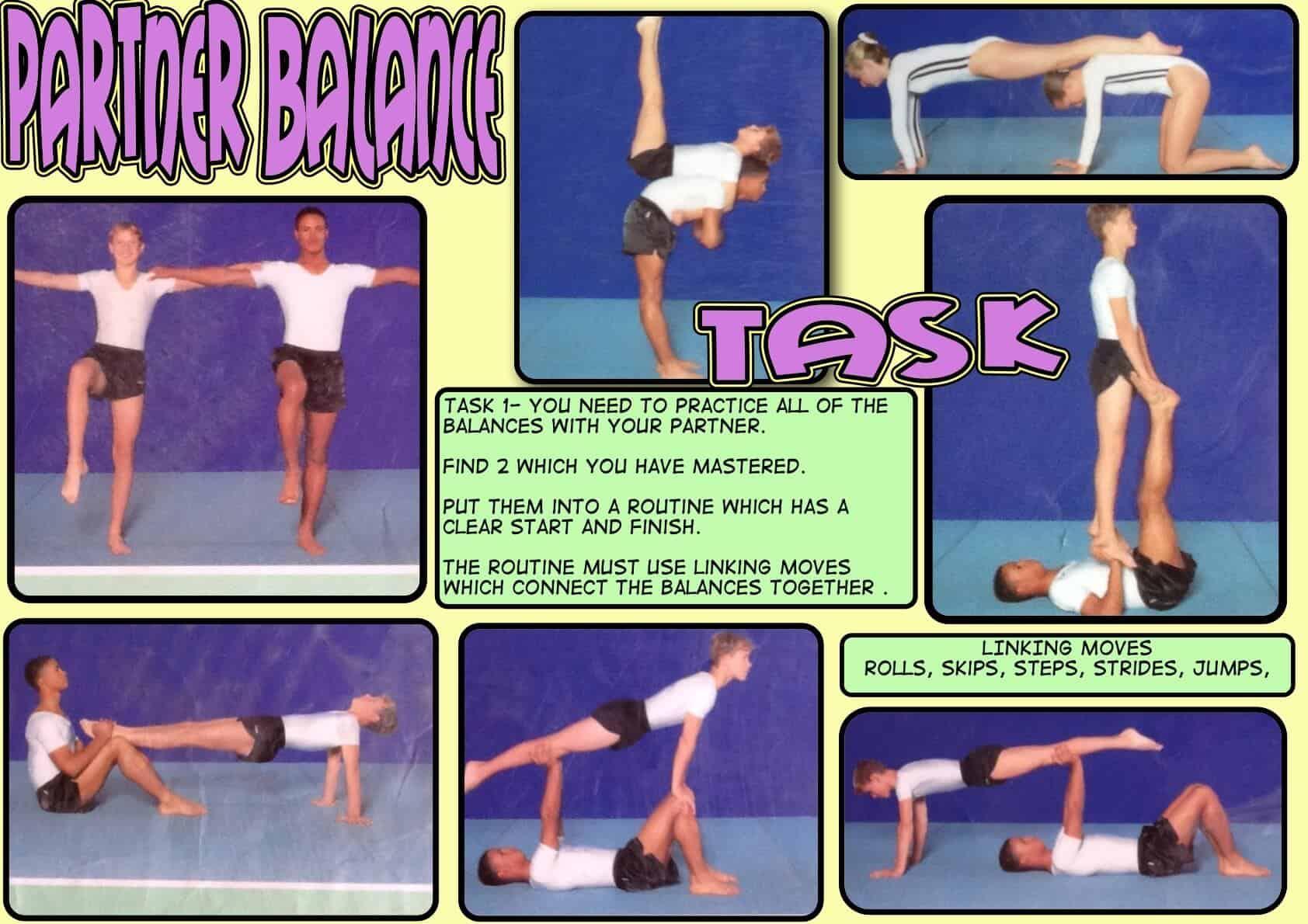 Balance Gymnastics Partner Task Card