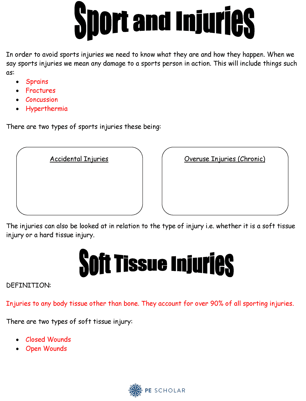 Sports Injury Worksheet For Gcse Or Btec Students