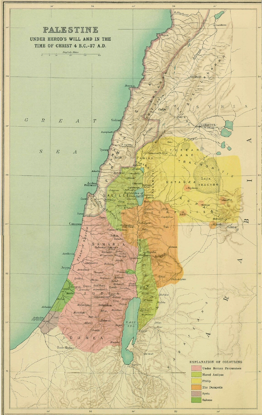 Map Palestine Christ S Time