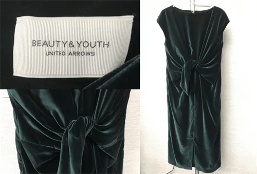 BEAUTY&YOUTH UNITED ARROWSの緑のベロアワンピース