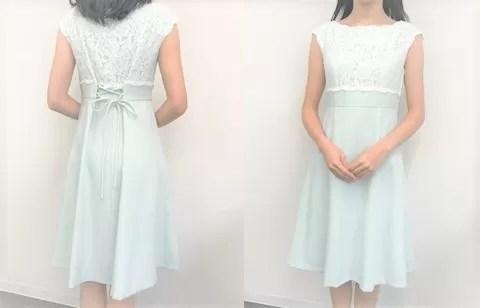 マナマナプラスのドレスを試着した写真