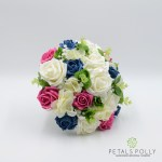 Hot Pink Teal Ivory Rose Brides Posy With Hydrangea Eucalyptus