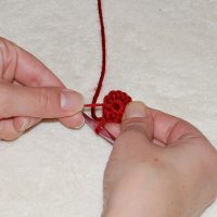 Close up crochet center with the Magic Circle Crochet Technique.