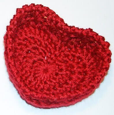 Crochet Heart Basket for Valentines Day