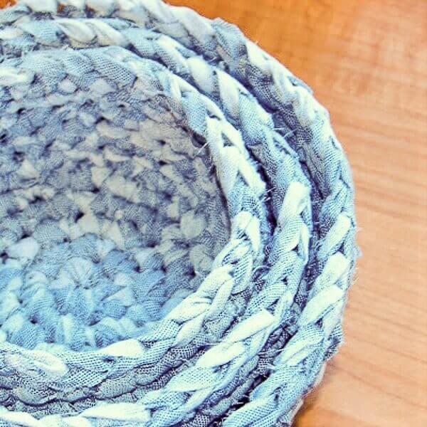 Crochet Fabric Nesting Baskets Pattern Petals To Picots