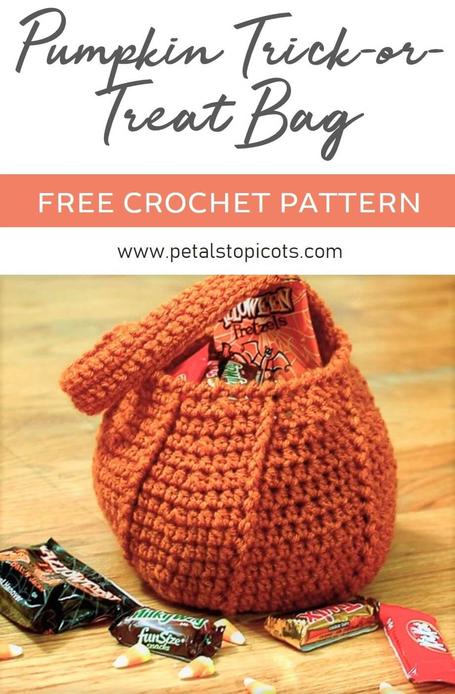 This cute trick or treat bag works up quickly and is perfect for holding all your little pumpkin to tote around the neighborhood! #petalstopicots