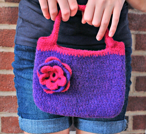 Pretty Little Felted Purse Pattern Petals To Picots