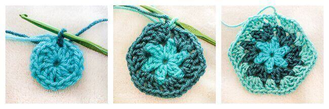 How to crochet a granny hexagon   www.petalstopicots.com