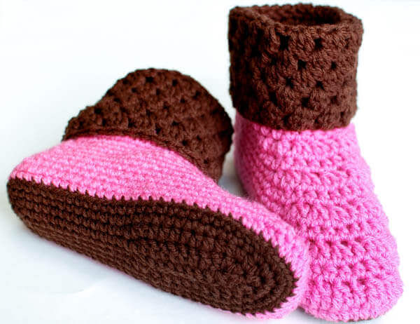 Ladies Booties Crochet Slippers Petals To Picots