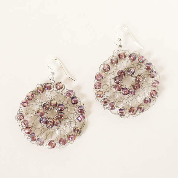 Crochet Wire Medallion Earrings