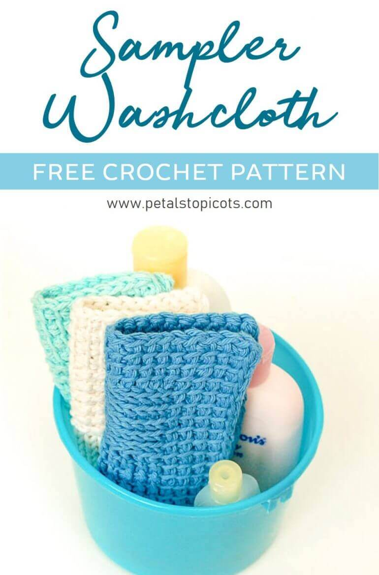 This Sampler Washcloth Tunisian Crochet Pattern gives you the opportunity to practice some basic Tunisian stitches while stitching up a pretty washcloth for your home or to give as a gift.They are the perfect size for facial washcloths or to use for babies. #petalstopicots