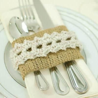 Burlap and Crochet Place Settings