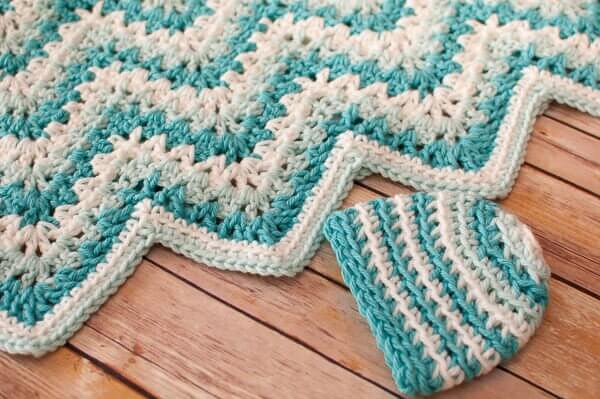 Gentle Ripple Baby Blanket And Hat Crochet Pattern Petals To Picots