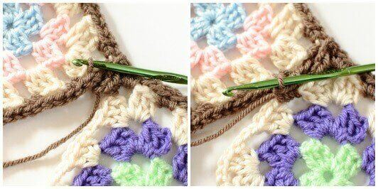 Joining Granny Squares With the Join As You Go (JAYGO) Method Step 2