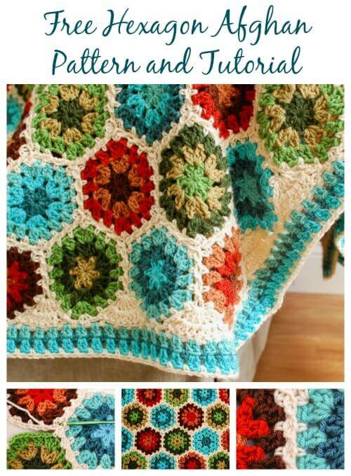 FREE Crochet Throw Blanket Patterns featured by top US crochet blog, Flamingo Toes: Crochet Hexagon Afghan Pattern and Tutorial