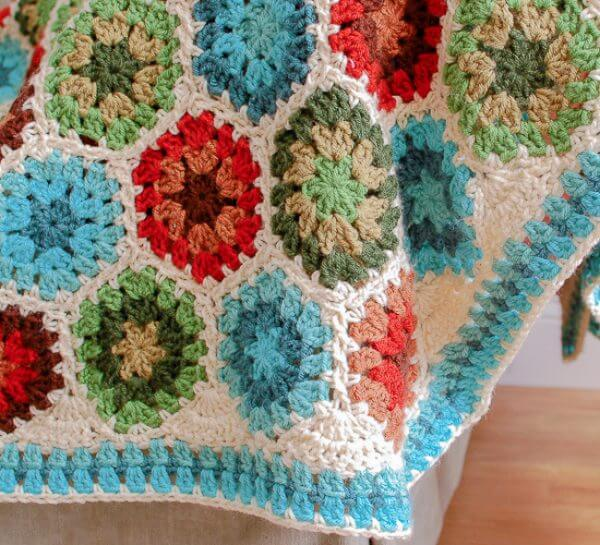 Granny Hexagon Crochet Edging Petals To Picots