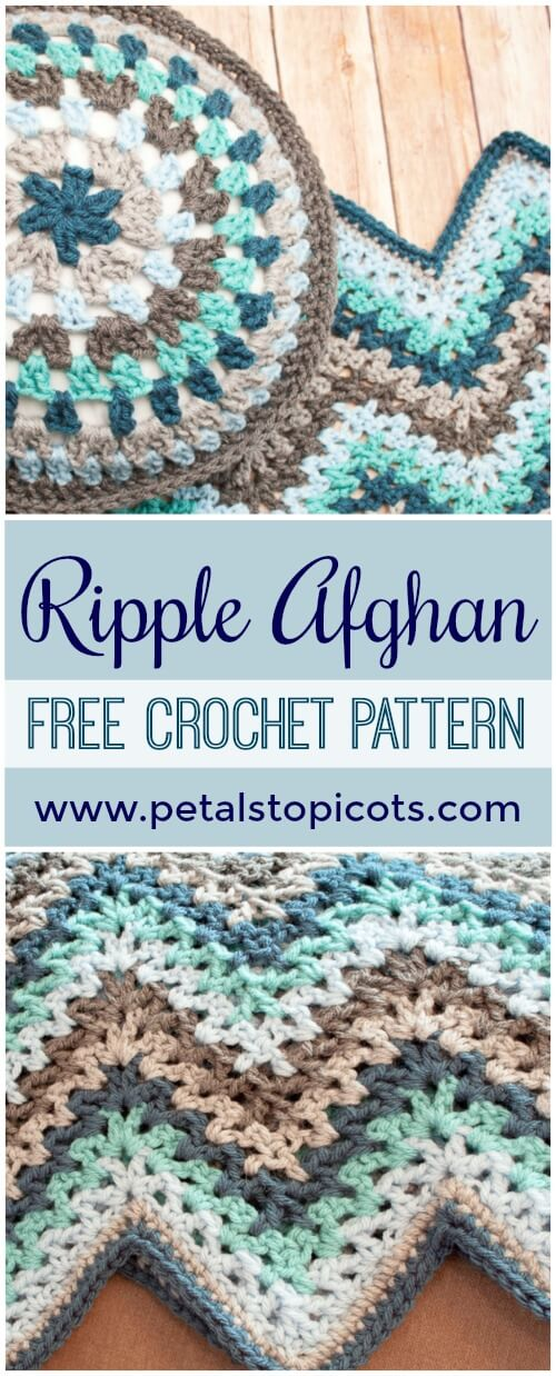 V-Stitch Crochet Ripple Afghan Pattern | Petals to Picots