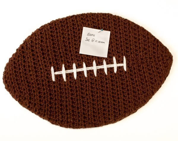 Crochet Football Cork Board Pattern | www.petalstopicots.com | #crochet #football