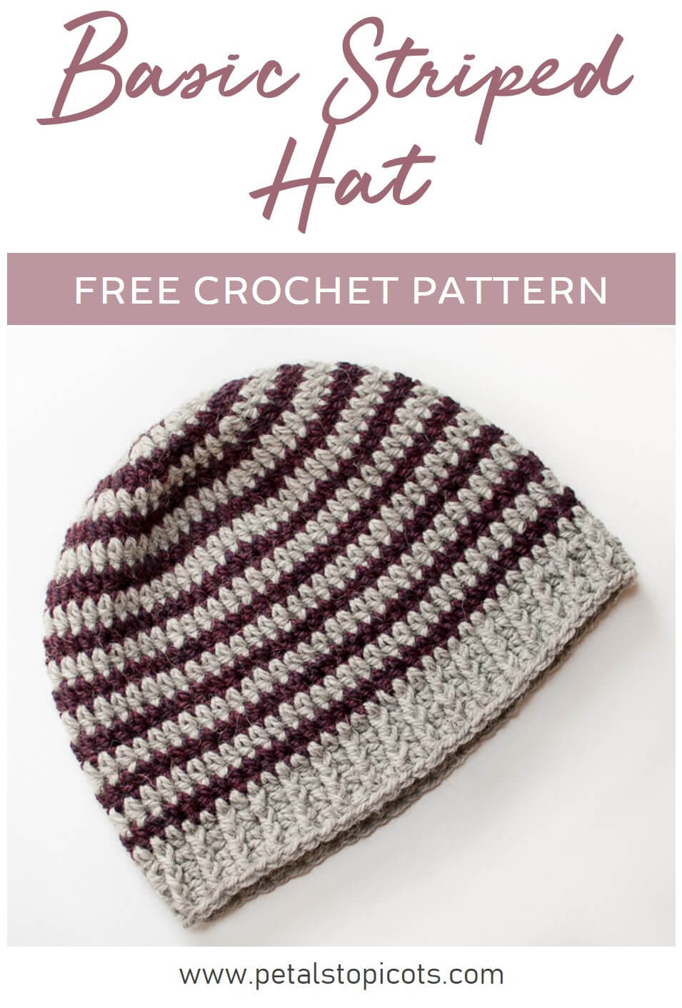 This basic striped hat pattern is great for beginners and helps master working in the round, color changes, and increasing. #petalstopicots