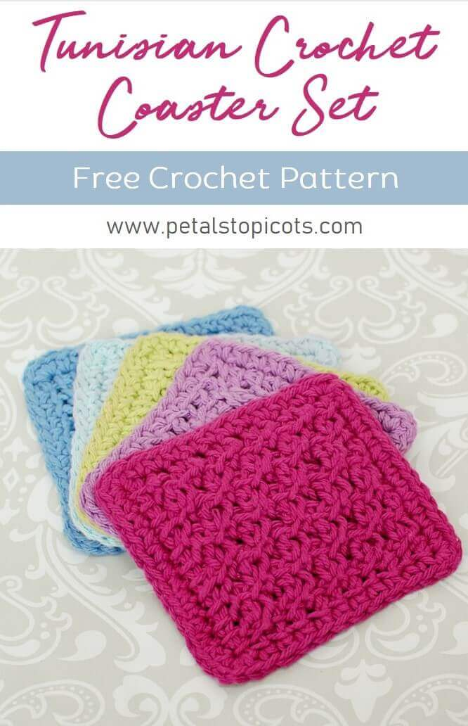 This Tunisian crochet coaster pattern works up so quickly so you can make a set of charming coasters for your home or to give as a gift! It's also the perfect size for practicing your stitches! If you are just getting started with Tunisian Crochet, you can check out my Learn Tunisian Crochet series to get started. #petalstopicots
