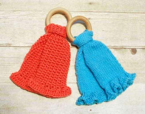 Teether Lovey Patterns ... Crochet and Knit Versions   www.petalstopicots.com   #crochet #knit