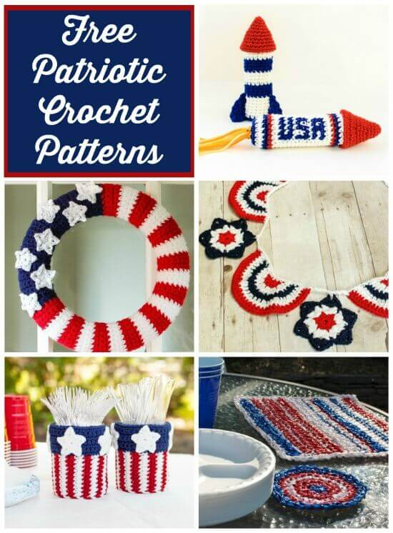 Celebrate the Red, White, and Blue by stitching up these free patriotic crochet patterns!  Perfect for your outdoor BBQs or Americana decor! #petalstopicots