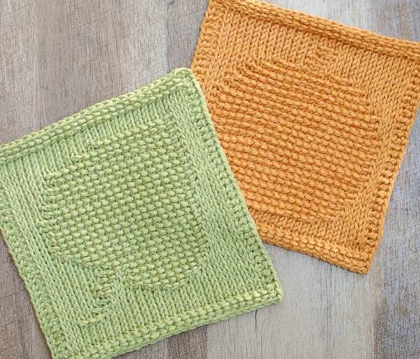 Leaf and Pumpkin Tunisian Crochet Dishcloth patterns