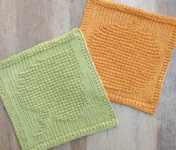 Leaf and Pumpkin Tunisian Crochet Dishcloth patterns
