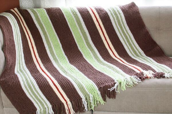 Vertical Striped Crochet Afghan Pattern Petals To Picots
