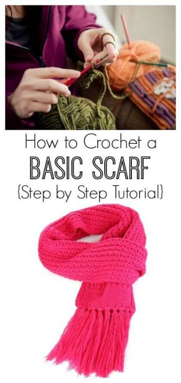 How to Crochet a Basic Scarf for Beginners {Step by Step Tutorial}