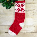 Fair Isle Snowflake Christmas Stocking Crochet Pattern